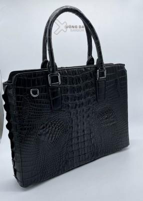 Túi laptop da cá sấu màu đen